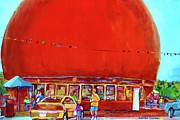 Streetscenes Paintings - The Orange Julep Montreal Summer City Scene by Carole Spandau