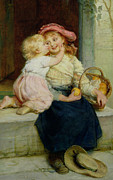 Sisters Paintings - The Orange Seller by  Frederick Morgan
