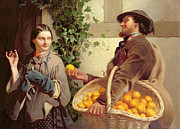 Fruit Basket Framed Prints - The Orange Seller  Framed Print by William Edward Millner
