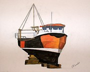 Trawler Paintings - The orange trawler by James McCreadie