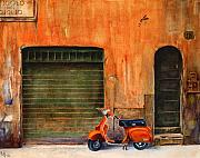 Vespa Posters - The Orange Vespa Poster by Karen Fleschler
