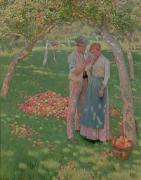 Flirting Paintings - The Orchard by Nelly Erichsen