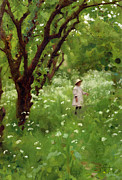 Little Girl Painting Posters - The Orchard  Poster by Thomas Cooper Gotch