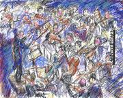 Instruments Digital Art Originals - the Orchestra by Joyce Kanyuk