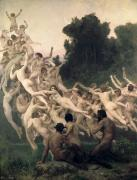 Daphnis Mount Parnassos Framed Prints - The Oreads Framed Print by William-Adolphe Bouguereau