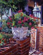 Brick Patio Posters - The Ornamental Floral Gate Poster by David Lloyd Glover