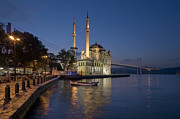 Mosque Prints - The Ortakoy Mosque and Bosphorus Bridge at dusk Print by Ayhan Altun