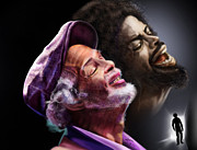 Singer Paintings - The Other Side-Gil Scott Finally Going Home by Reggie Duffie