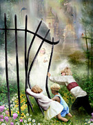 Heaven Mixed Media Posters - The Other Side Of The Fence Poster by Carrie Jackson