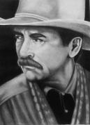 Cowboy Pencil Drawings Framed Prints - The other Tom Framed Print by Thomas  Slover