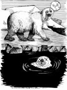 Beaches Drawings Prints - The Otter Loved the Bear Print by Laura Brightwood