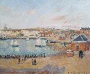Camille Pissarro Framed Prints - The Outer Harbour at Dieppe Framed Print by Camille Pissarro