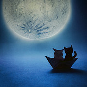 Sea Moon Full Moon Prints - The Owl and the Pussycat Print by Catherine MacBride