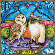 Illustration Painting Originals - The owl and the pussycat by Joanna Dover