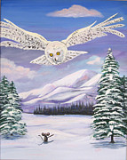 Snowy Trees Paintings - The Owl and the Rat by Phyllis Kaltenbach
