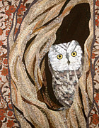 Fiber Art Tapestries - Textiles Prints - The Owl at Home Print by Linda Beach