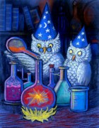 Wizards Framed Prints - The Owl Chemists Framed Print by Sue Halstenberg