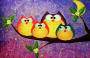 Pop Art Prints Painting Originals - The owl family in the midnight by Busra Siripone