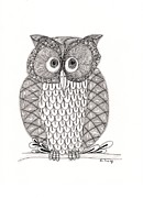 Drawing Of Bird Prints - The Owls Who Print by Paula Dickerhoff