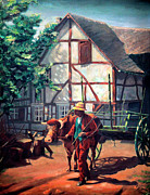 Landscape Artist Prints - The Ox Cart Print by Otto Werner