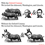 Digital Collage Posters - The Oxford Comma Poster by Eric Edelman