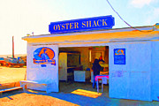Seashore Digital Art Metal Prints - The Oyster Shack at Drakes Bay Oyster Company in Point Reyes . 7D9832 . Painterly Metal Print by Wingsdomain Art and Photography