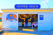 Seashore Digital Art Metal Prints - The Oyster Shack at Drakes Bay Oyster Company in Point Reyes . 7D9835 . Painterly Metal Print by Wingsdomain Art and Photography
