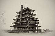 Reading Digital Art Posters - The Pagoda - Reading Pa. Poster by Bill Cannon