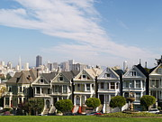 Painted Ladies Posters - The Painted Ladies of Alamo Square Poster by Alex Cassels