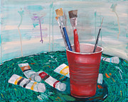 Drips Paintings - The Painters Table by Kevin Callahan