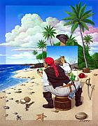 Surrealism Portrait Posters - The Painting Pirate Poster by Snake Jagger