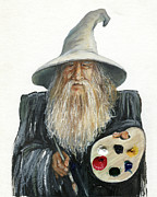 Sorcerer Framed Prints - The Painting Wizard Framed Print by J W Baker