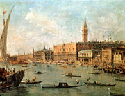 Italian Landscape Paintings - The Palace and the Molo from the Basin of San Marco by Francesco Guardi