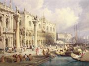 Historic Statue Painting Prints - The Palaces of Venice Print by Samuel Prout