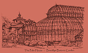 Landscapes Drawings - The Palm House in a salmon pink  by Building  Art