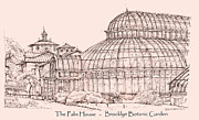 Landscapes Drawings - The Palm house in pink by Lee-Ann Adendorff