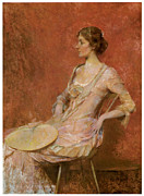 Victorian Era Woman Framed Prints - The Palm Leaf Fan Framed Print by Thomas Wilmer Dewing