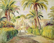 Mansion Framed Prints - The Palm Trees Framed Print by Pierre Auguste Renoir