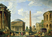 Roman Statue Prints - The Pantheon and other Monuments 1735 Print by Giovani Paolo Panini