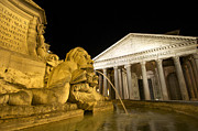 Pantheon Framed Prints - The Pantheon at night. Piazza Della Rotonda.Rome Framed Print by Bernard Jaubert