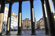 Famous Buildings Acrylic Prints - The Pantheon . Piazza Della Rotonda. Rome Acrylic Print by Bernard Jaubert