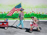 4th July Painting Prints - The Parade Print by Parker Jim