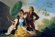 Lovers Painting Posters - The Parasol Poster by Goya