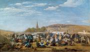 1859 Painting Metal Prints - The Pardon of Sainte Anne La Palud Metal Print by Eugene Louis Boudin