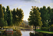 Swans Paintings - The Park at Mortefontaine by Jean Bidauld