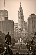 Philadelphia City Hall Digital Art Framed Prints - The Parkway in Sepia Framed Print by Bill Cannon