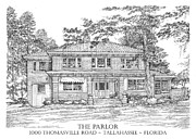 Old Building Drawings - The Parlor Tallahassee Florida by Audrey Peaty