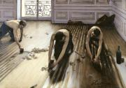 Wine Bottle Paintings - The Parquet Planers by Gustave Caillebotte