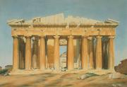 Watercolor On Paper Framed Prints - The Parthenon Framed Print by Louis Dupre