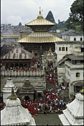 Religious Characters And Scenes Framed Prints - The Pashupatinath Temple Framed Print by James P. Blair